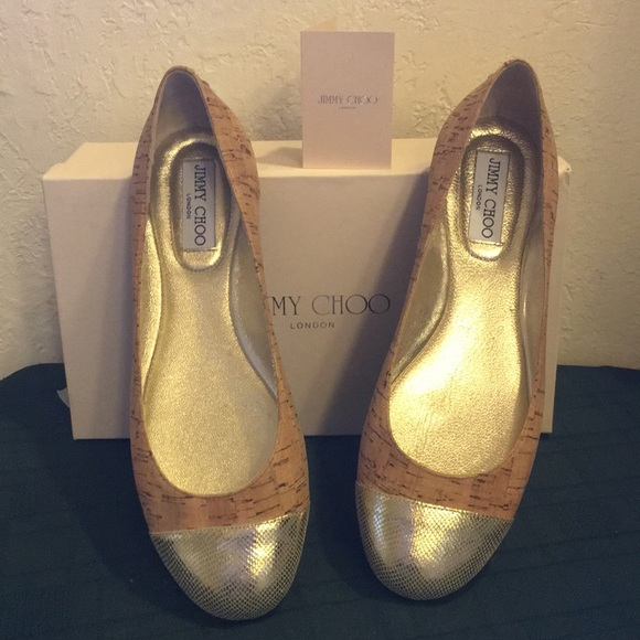 058297b10c5d JIMMY CHOO Cork W Gold toe Flat Women s Shoe 9-9.5